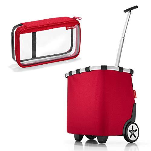 reisenthel - Exklusives Angebot! carrycruiser + case 2 Einkaufskorb Einkaufstasche Einkaufstrolley Set Rolltasche Case Kosmetik Kosmetiktasche (red)