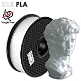 TIANSE Filamento PLA 1.75mm Silk Bianca, Stampante 3D PLA Filamento 1kg Spool, 3D Printing Filament PLA for 3D Printer and 3D Pen
