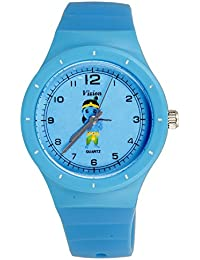 Vizion Analog Sky-Blue Medium Dial (The Little KRISHNA with Flute) Cartoon Character Watch for Kids-8825-1-3