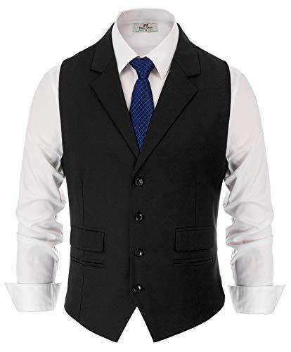 Geschäft 2-Taschen Asymmetrische Saum Tweed Anzug Weste Schwarz Größe XL Schwarze Weste