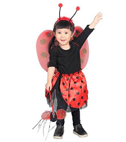 4 teiliges Marienkäfer Kostüm bestehend aus den Flügeln, dem Rock, dem Kopfschmuck und dem Stab! Für die Größen 98-110, (Kostüme Kind Marienkäfer)