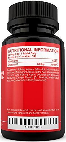 Vitamin B12 Methylcobalamin 1000mcg 180 Tablets (6 Month Supply) – 100% MONEY BACK GUARANTEE – High Strength Methylcobalamin B12 Sublingual Tablets Suitable for Vegetarians by Puretality