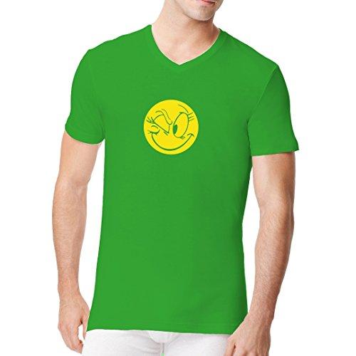 Fun Sprüche Männer V-Neck Shirt - Zwinkerndes Comic Smiley by Im-Shirt Kelly Green