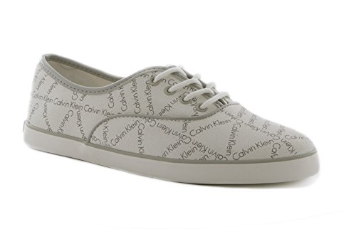 Calvin Klein Rea city grid smooth patent WEY white pearl