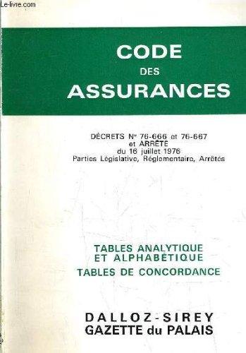 CODE DES ASSURANCES - DECRET N°76-666 ET 76-667 ET ARRETE DU 16 JUILLET 1976 PARTIES LEGISLATIVES REGLEMENTAIRE ARRETES.
