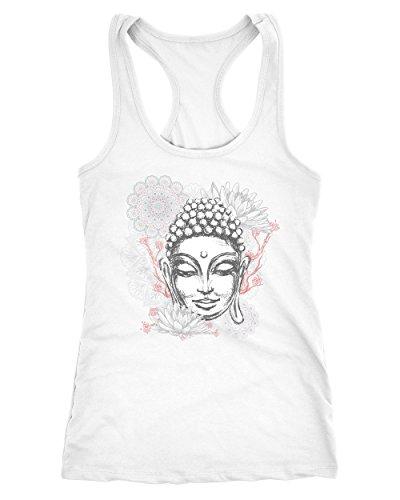 Neverless Damen Tank-Top Buddha Buddha-Kopf Mandala Racerback Weiß S