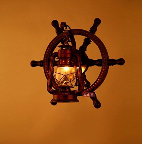 Europäische vintage echten Holz- ruder Wandleuchte American country Individualität kreative Bar Lampe
