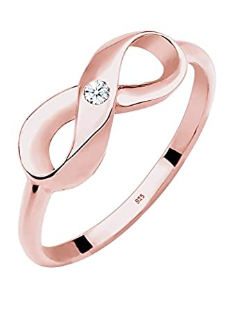 Diamore Damen-Ring Infinity Unendlichkeit in Roségold 925 Silber Diamant (0.03 ct) Gr. 52 (0,03 Ct Diamant-set)