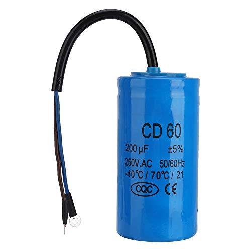 CD60-Betriebskondensator 250 V AC, 200 uF, 50 Hz / 60 Hz, mit Drahtführungskondensator für Motorluftkompressoren, Kompressoren und Motoren - hitzebeständig, leckagearm, verlustarm und niederohmig -