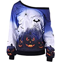 juqilu Frauen Halloween Sweatshirt 3D-Muster Schulterfrei Langarm Casual Herbst Bluse Jumper Tops S-XL