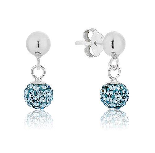 DTPsilver - Ohrringe Ohrhänger 925 Sterling Silber mit Kristall aus Swarovski Elements Disco Kugel Runde - Farbe: Aquamarin/Leichter Blau