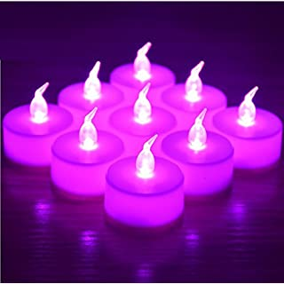 RICISUNG 12 x LED flickering Candles Flameless Tea Lights for Decoration Festivals Weddings with Batteries with free batteries