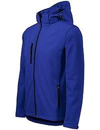 Chaqueta Softshell para Hombre con Capucha desmontable - Altamente resistente al agua (Azul – Talla: L)
