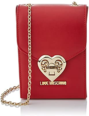 Love Moschino - Borsa Nappa Pu Rosso, Bolsos baguette Mujer, Rot (Red), 17x12x6 cm (W x H D)
