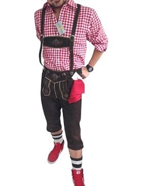Trachtensets Trachtenanzug Lederhose + Hemd+Schuhe+Strümpfe Dark Braun Echt Leder BOCKLEDER