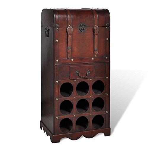 vidaXL Holz Weinregal 9 Ablagefächer für Flaschen Trunk mit Schublade Truhe 240506