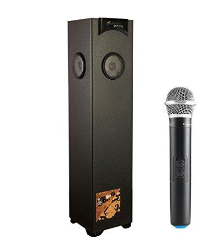 Flow Boom Box Bluetooth Tower Speaker Karoke Enabled Wireless Mic (Black)