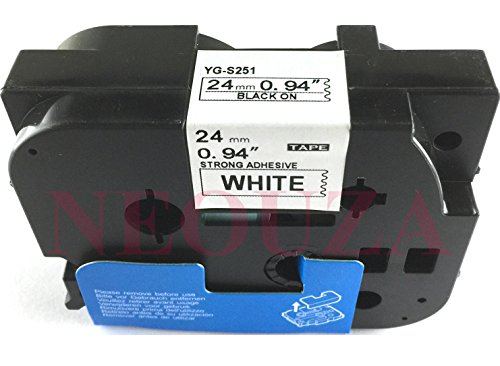 ACD extra forza adesiva compatibile per Brother P-Touch TZe TZ nero su bianco Label tape 6mm 9mm 12mm 18mm 24mm 36mm TZe-S251 24mm Black/White