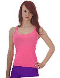 Womens Fitted Neon Vest Top with Racer Back- size 8 to 16