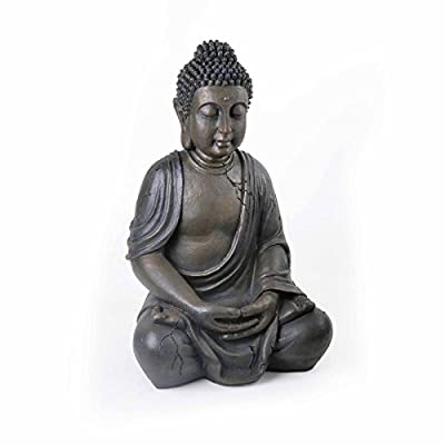 X-Large 51cm Sitting Buddha Resin Stone Effect Indoor/Garden Statue/Ornament