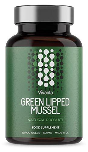 Mejillón de labios verdes - 500mg x 180 cápsulas | Mejill Labio Verde Extracto Suplemento - Producto natural, hecho en el Reino Unido | Tabletas de Mejillon Labios Verdes de la más alta calidad