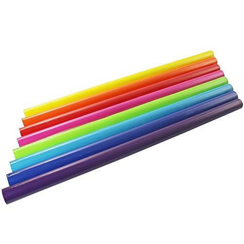 COM-FOUR® 8x Rollen Geschenkpapier, einfarbig ohne Muster, in verschiedenen Farben, 200 x 70 cm (bunter Mix)