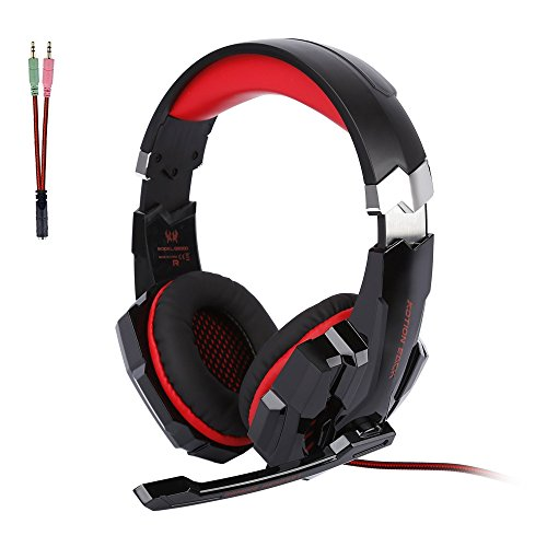 [Cascos Auriculares Gaming para PS4] ArkarTech Headset con Micrófono Auricular Gamer para Juegos Jack de 3,5mm Ultra-livianos Ajustable Estéreo LED y USB Para PC, Móviles, PS4