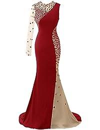 HUINI Cristal Escarpado Un hombro Largo Trajes de gala Sirena Noche Fiesta Vestidos