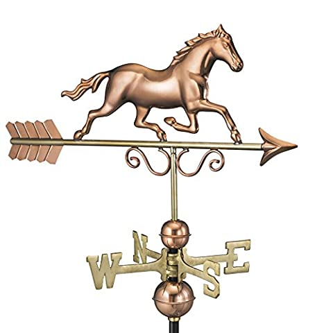 Good Directions 1974P Galloping Horse Weathervane, Polished Copper