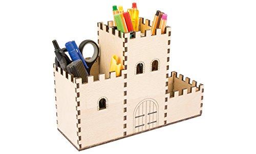 Stiftebox Burg aus Holz für Kinder und kleine Ritter, Bausatz zum Basteln für Jungen und Mädchen - Organizer
