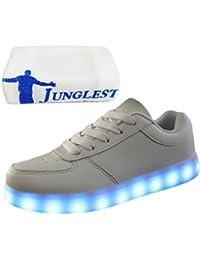 (Presente:pequeña toalla)Blanco EU 32, moda Planos JUNGLEST® Hombre Zapatillas LED Luz con De