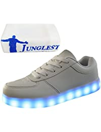 [Presente:peque?a toalla]Blanco - blanco EU 43, LED Unisex LED hombres zapatos par JUNGLEST? colores zapatos mujeres Zapatillas adultos Casual luces manera luminoso moda lla