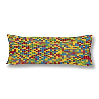CiCiDi Seitenschläferkissen 5ft (140 x 40 cm) BAU-Block-Spielzeug-Ziegelsteine in gedämpften 4 Farben Weiche Baumwolle Maschinenwäsche mit Reißverschlüssen Mutterschafts- / Lange Kissenbezug