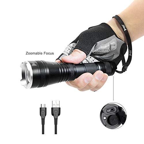LED Taschenlampe Zoombar Taktische Outdoor Handlampe Wasserfest IPX8 USB Wiederaufladbar LED Taschenlampen WUBEN Extrem Super hell 1200 Lumen aufladbar Licht Zoombare , Wandern ,Mit Batterie