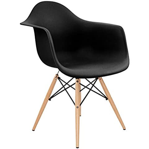 Charles Bentley Design retrò lounge sedia poltrona–Nero (più colori disponibili)