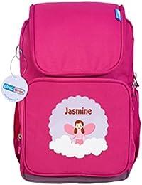 UniQBees Personalised School Bag With Name (Active Kids Medium School Backpack-Pink-Pink Flowers)