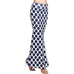 AMORETU Mujeres Maxi Falda De Playa Larga Faldas Largas Elegantes Cintura Alta Patrón de Lunares Azul L