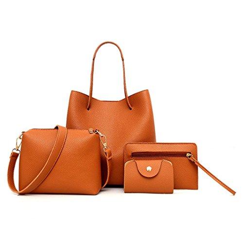 Kangrunmy borse tracolla grandi,4 pezzi modello donna borsa in pelle + borsa crossbody + messenger bag + pacchetto carta borse tracolla donna argento (marrone)