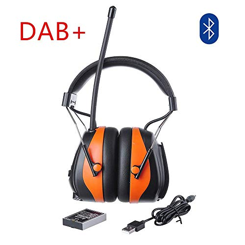 PROTEAR Protection auditive rechargeable avec radio DAB / DAB + FM, Capsule de protection auditive électrique Bluetooth avec kit mains libres, SNR 30dB