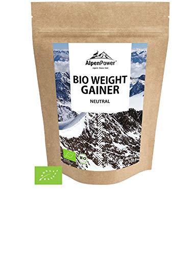 ALPENPOWER | BIO WEIGHT GAINER | 100% natürliche Zutaten | Ohne Zusatzstoffe | Hochwertiges Protein | Komplexe Kohlenhydrate | Muskelaufbau | Organic Weight Gainer | 500g - Natürliche Gainer