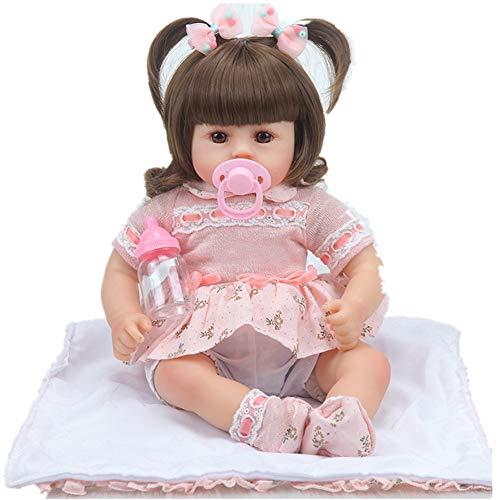 Minsong 42cm Soft Vinyl Silikon Leben Wie Reborn Baby Doll Bob Perücke Neugeborenen Puppen Brown Eye Kinder Geschenk (C)