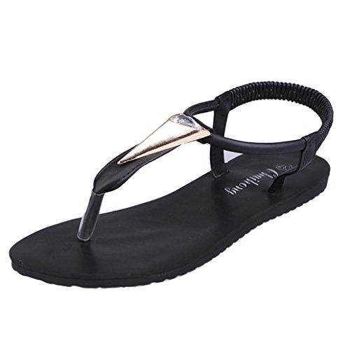 Bescita Neue Fashion Flache Schuhe Strass Böhmen Freizeit Lady Peep-Toe Sandalen Outdoor Damenschuhe Schwarz