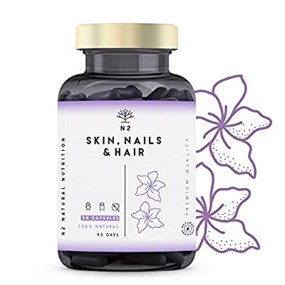 Hair Skin and Nails Supplement Biotin pills for Hair Growth Nails Beard and Skin Care. 20 Vitamins and Minerals for Women and Men. Fight Hair Loss. 90 capsules High Strength Vegan N2 Natural Nutrition from Double Wear SL