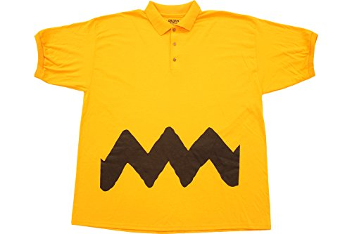 Peanuts Charlie Braun Polo Button Up Kostüm T-Shirt - Woodstock Und Snoopy Kostüm