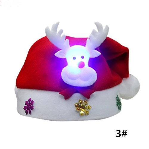 PRETYZOOM 5 Stücke LED Weihnachtsmütze Nikolausmütze mit Licht Weihnachtshüte Weihnachtsdeko Xmas Party Deko für Kinder Erwachsene Weihnachtsmann Kostüm (Rentier)
