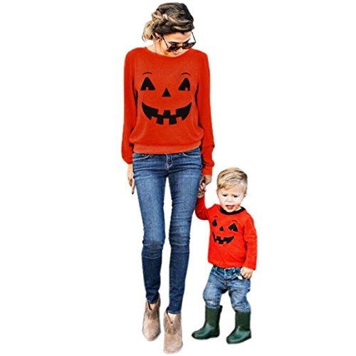 LILICAT Halloween Familie Kleidung Langarm Sweatshirt Mutter Elternteil Tochter Sohn Kind T-Shirt Chic Tops Casual Bluse Matching Outfit Frauen Oberteile Damen Pulli Pullover (3T, Kinder)