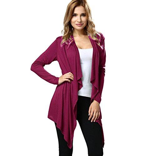 ALAIX Damen Wasserfall Leicht Cardigan Langarm Strickjacke Outfits Rosa-L (Niedlich Fitness-outfits)