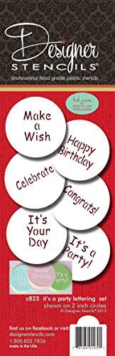 Designer Schablonen C823IT 'S A Party Cookie Schablonen-Set, (Happy Birthday–Congrats–IT 'S A Party–Make A Wish–Feiern), beige/Halbtransparent