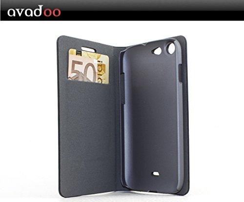 avadoo® Wiko Stairway Flip Case Cover in Schwarz/Rot mit Magnetverschluss als Cover Tasche Hülle