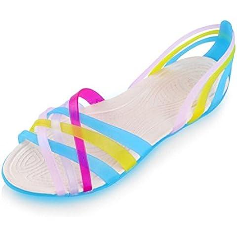 Mine tom Mujeres Zapatos Jalea Sandalias Planas Talón Sandalias Verano Cruzan Bandas Playa